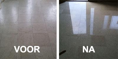 marmer vloer polijsten voor en na