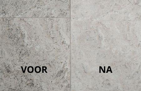 travertinvloer reinigen voor en na