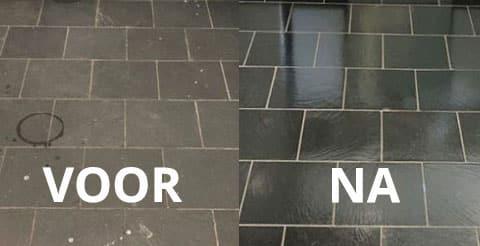 belgisch hardsteen polijsten voor en na